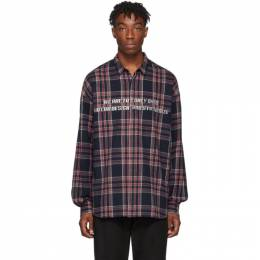 Juun.J Navy and Red Flannel Shirt JC9X64P15R