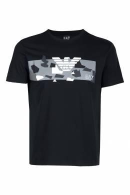 Черная футболка с геометрическим принтом Ea7 2944149712