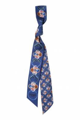 Синий шелковый шарф-бандо Fendi 1632150452