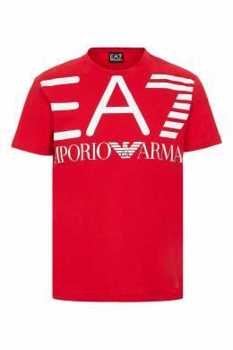 "Красная футболка с белым логотипом ""Armani"" Ea7 2944149707"