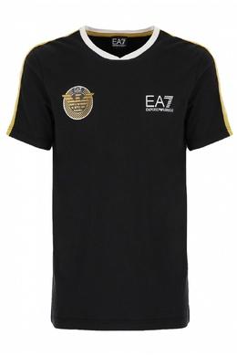 Черная футболка с белой и желтой отделкой Ea7 2944149700