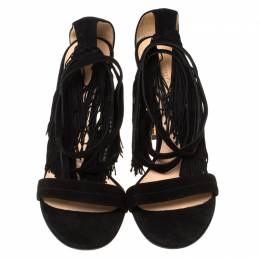 Gianvitto Rossi Black Suede Olivia Fringe Ankle Wrap Sandals Size 40 Gianvito Rossi 222195