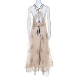 Monique Lhuillier Beige Tulle Sequin Embellished Evening Dress M 221986