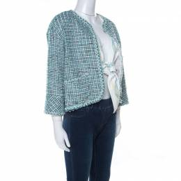 Chanel Green & Iridescent Tweed Inner Lambskin Front Tie Waistcoat Jacket M 221849