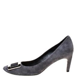 Roger Vivier Dark Grey Suede Belle Pumps Size 40