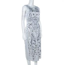 Matthew Williamson Grey Floral Print Cotton Blend Sleeveless Dress M 222056
