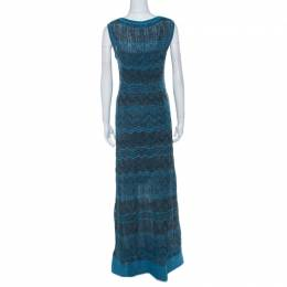 M Missoni Blue & Black Chevron Crochet Knit Lurex Sleeveless Dress M 222453