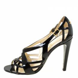 Chanel Black Patent Leather CC Strappy Sandals Size 37.5 222450