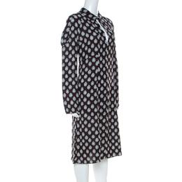 Marni Dark Brown Crystal Print Silk Flared Dress M 223681