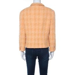 Chanel Pale Orange Wool Knobby Knit Silver Button Detail Jacket XL 222326
