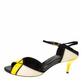 Roger Vivier Tri Color Leather Peep Toe Ankle Strap Sandals Size 37.5