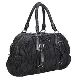 Prada Black Gathered Nylon Satchel Bag