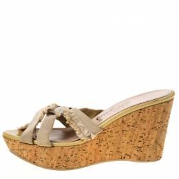 Salvatore Ferragamo Beige Nylon Buckle Strappy Cork Wedge Platform Sandals Size 38.5 212788