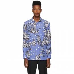 Neil Barrett Blue Leopard Polka Dot Shirt BCM1276S M078