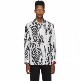 Neil Barrett White and Black Chaotic Print Shirt BCM1269SV M080