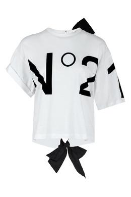 Белая футболка с асимметричной отделкой No. 21 35143822