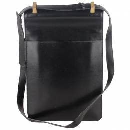 Hermes Black Leather Sac a Depeche Shoulder Bag 221888