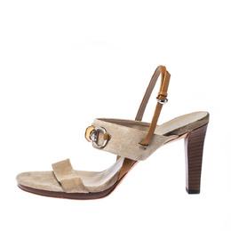Gucci Beige Canvas Bamboo Horsebit Slingback Sandals Size 40