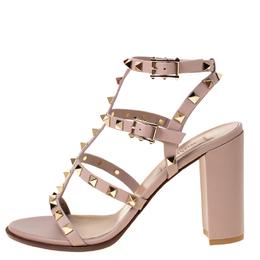 Valentino Beige Leather Rockstud Block Heel Gladiator Sandals Size 38 224041