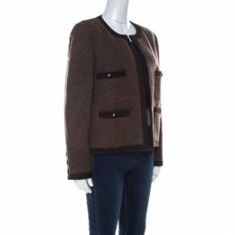 Chanel Boutique Vintage Brown Wool Tweed Jacket XL 222320