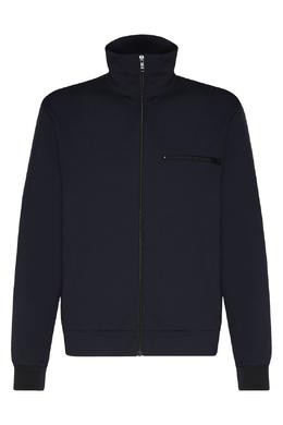 Трикотажная куртка темно-синего цвета Prada 40150700