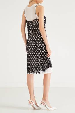 Комбинированное черно-белое платье с пайетками No. 21 35150778
