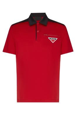 Красно-черное поло Prada 40150734