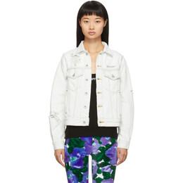 Off-White White Distressed Denim Jacket OWYE012F19773050B800
