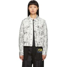Off-White White and Black Denim Graphite Jacket OWYE012F19D080510199