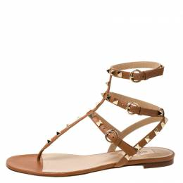 Valentino Brown Leather Rockstud Thong Gladiator Sandals Size 39 222421