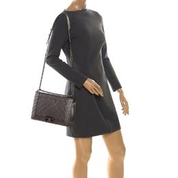 Chanel Metallic Grey Perforated Leather New Medium Boy Bag 222248