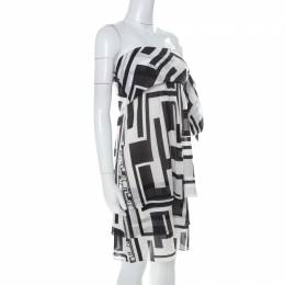 Emilio Pucci Monochrome Silk Chiffon Strapless Short Dress M 222411