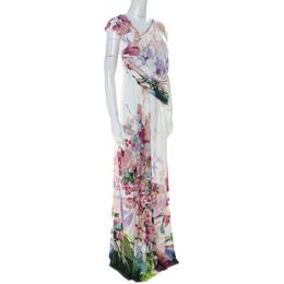 Just Cavalli Multicolor Floral Print Jersey Draped Maxi Dress L 223709