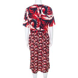 Marni Red & Blue Mixed Print Silk Blend Short Sleeve Dress M 223459
