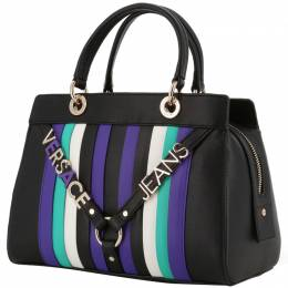 Versace Jeans Black Synthetic Leather Top Handle Bag