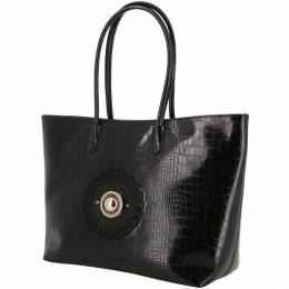 Versace Jeans Black Embossed Synthetic Leather Tote Bag