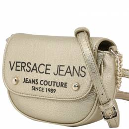 Versace Jeans Silver Mettalic Synthetic Leather Crossbody Bag