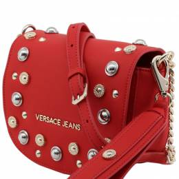 Versace Jeans Red Synthetic Leather Stones Crossbody Bag