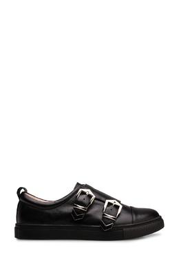 Черные кожаные кеды с застежками-ремнями Portal 2659150722