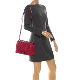 Chanel Dark Pink Lambskin Leather Chevron New Medium Boy Bag 222221