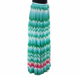 Missoni Mare Green Chevron Patterned Knit Cover Up Maxi Skirt M
