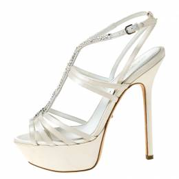 Sergio Rossi Creme Satin And Embellished Leather Strappy Platform Sandals Size 35.5 224860