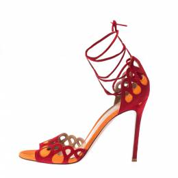 Gianvito Rossi Red/Orange Suede Samba Ankle Wrap Sandals Size 39 224508