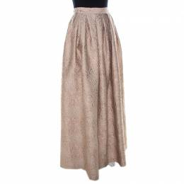 Max Mara Cream Lurex Floral Pattern Jacquard Long Skirt S 223466