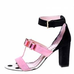 Moschino Black/ Pink Suede Crystal Embellished Ankle Strap Sandals Size 38 224678
