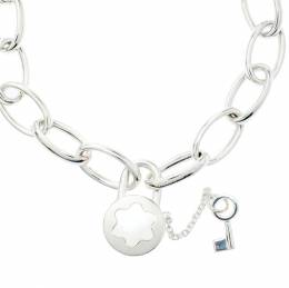 Montblanc Lock & Key Mother of Pearl Silver Chain Link Bracelet