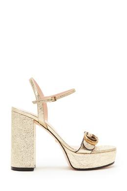 Золотистые босоножки на платформе GG Gucci 470139251
