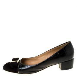 Salvatore Ferragamo Black Croc Embossed Leather And Suede Vara Bow Pumps Size 38.5 225087