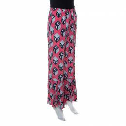 Gucci Pink Cube Print Silk Pleated Flare Hem Trousers S 222160