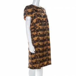 Marni Mustard Yellow and Black Printed Silk Twill Short Sleeve Shift Dress L 223900